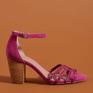 Anthropologie Annabel Heeled Sandals Plum